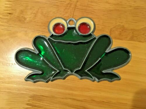 Vintage Suncatcher Bright Green Frog Window Ornament