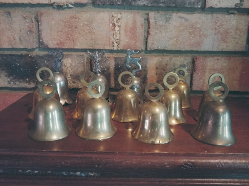 Lot of 13 Bells Many Brass Dif Tones.  Three are Christmas Themed Silver Plated