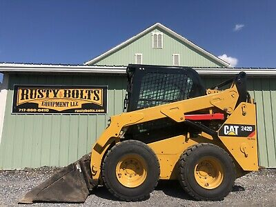 2017 Caterpillar 242d Skid Loader Enclosed 2 Speed Heat Ac Low Cost Shipping
