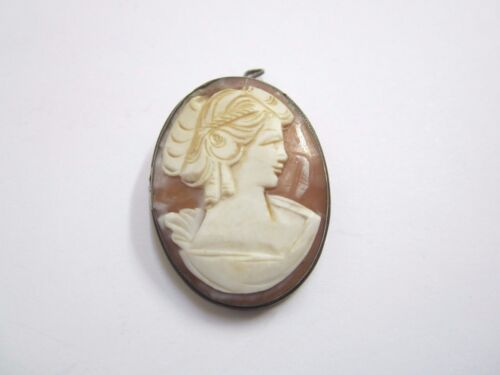 VINTAGE 800 FINE STERLING SILVER CAMEO PIN OR PENDANT