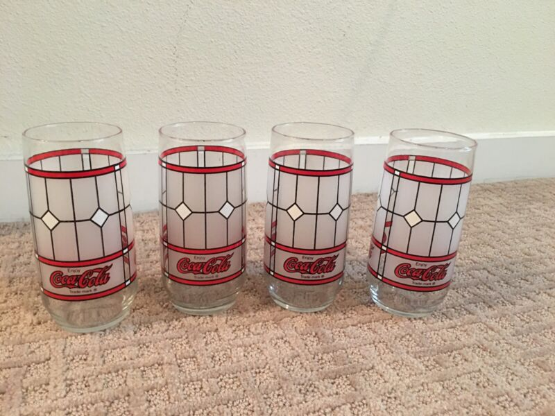 4 Vintage Coca-Cola Frosted Stained Glasses