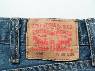 Levis 559 Men's Jeans Size 38x30 Relaxed Straight Navy Blue Denim Red Tab 38 30