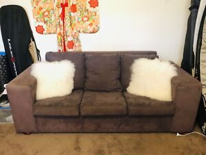 Large suede triple seater sofa bed - comfortable and good condition