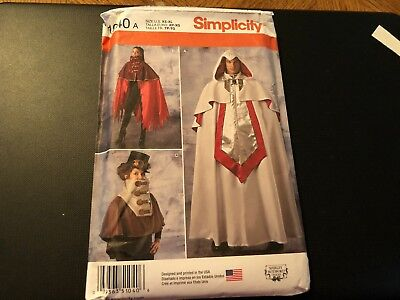 Simplicity Costume Pattern 1040 Mens/Misses Steampunk Capes~Assassins Creed~etc
