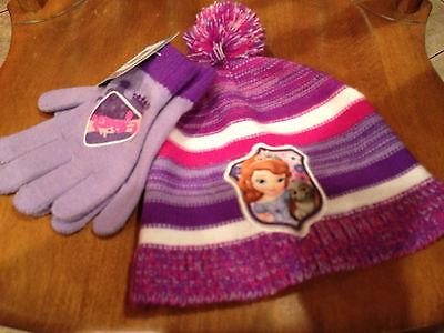 NWT Girls Disney SOFIA THE FIRST Purple Striped Knit Hat & Gloves Set OSFM