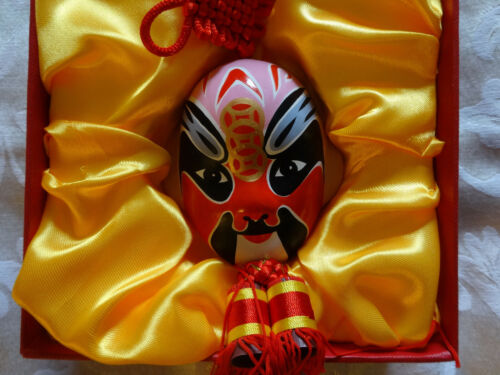 Miniature Painted Beijing Opera Mask ~ Clay with Red Tassels and Decorative Box