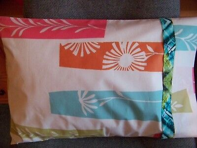 (TRAVEL SIZE PILLOW CASE COLORFUL BLOCKS TEAL/BAND/CUFF)