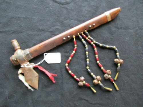 NATIVE AMERICAN PIPE & AXE, PIPE CLUB with 4 TRADE BEADED DROPS,  ATL-0321*05392