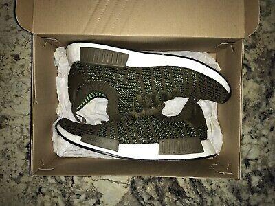 bd8ef685f Adidas Originals NMD R1 Stlt Pk Primeknit Olive Green White Men (CQ2389)  size 10