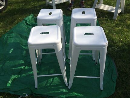 Stackable cafe bar stool white metal chairs x 4 Lisarow Gosford Area Preview
