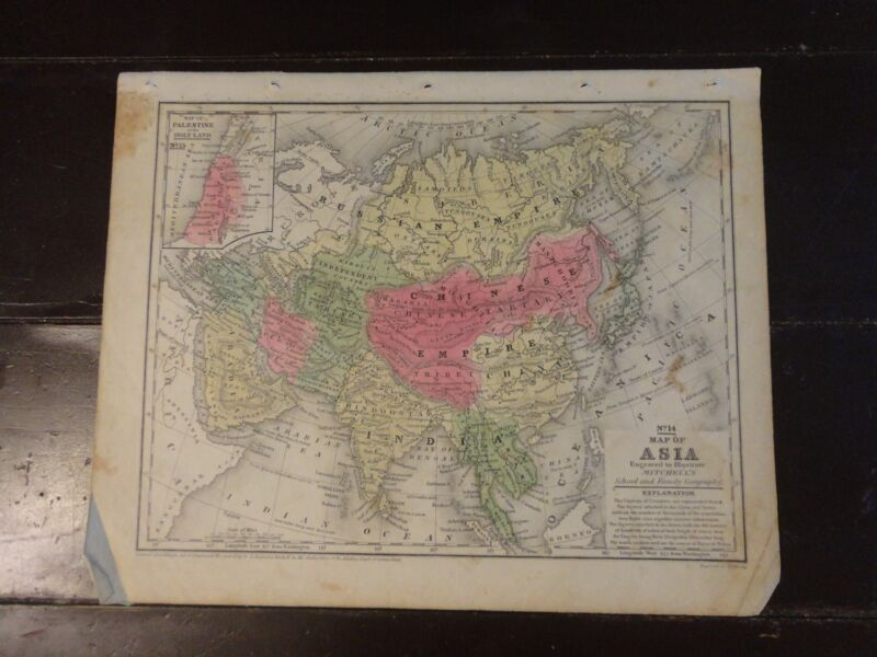 1840 Hand Colored Engraved Map of Asia, Pub. in Mitchell