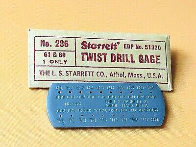 Brand New Starrett No. 286 Drill Steel Wire Gage 61- 80. Made In The Usa.