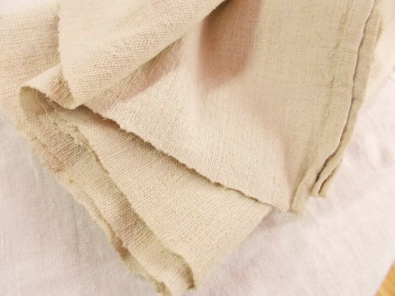50x89 Vtg Antique FRENCH HEMP LINEN Fabric 3 + yds BEDSPREAD SHEET BLANKET QUILT