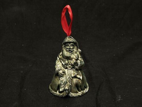 "GODINGER SILVER ART PLATED SANTA CLAUS BELL CHRISTMAS TREE ORNAMENT 3.25"" TALL"
