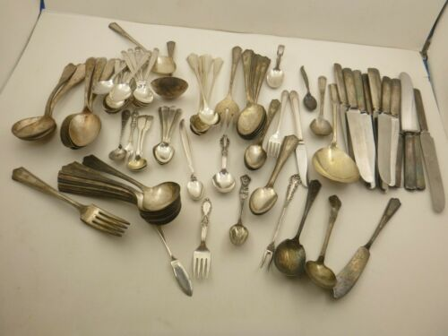 Antique Vintage 81pc Lot Silverplate Flatware Craft Resell Serving Rogers Reed