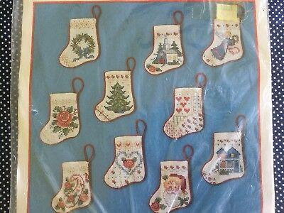 Tiny Christmas Stockings (Bucilla Christmas Tiny Victorian Stockings Ornament Kit Cross Stitch Set of)