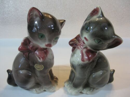 "Royal Copley 8"" Brown Cat Figurines Left and Right Facing in Excellent Condition"