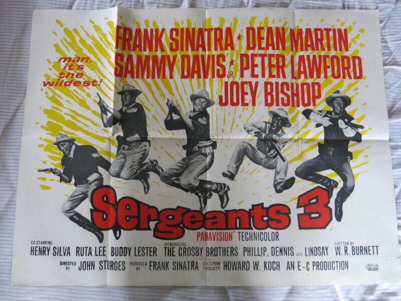 SERGEANTS 3 Original UK Quad Film Poster Folded 1962 FRANK SINATRA RAT PACK FILM