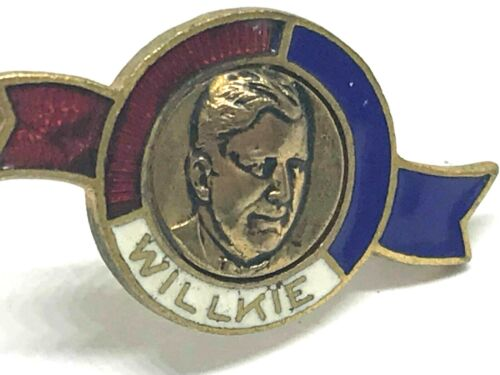 1940-Willkie-Lapel Pin-Wendell Willkie-Presidential Elect-Enamel-Campaign Pin (K
