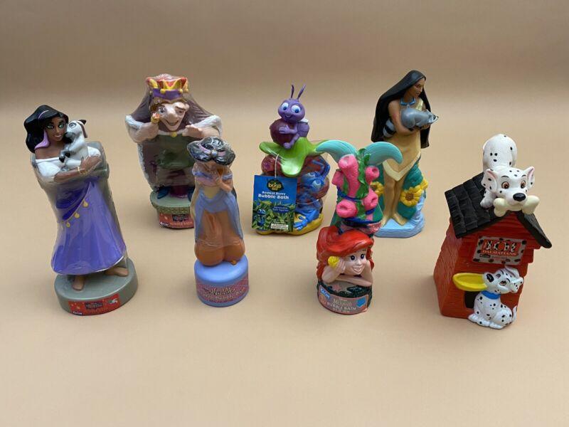 Lot Of 7 ~ Vintage Disney Bubble Bath Bottles ~ Hunchback, Aladdin, Bugs Life +