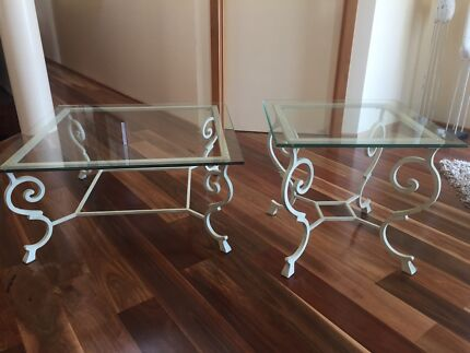 French Italian Black Wrought Iron Coffee Table With Glass Top