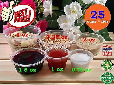 Portion Cups with Lids 0.75oz 1oz 1.5oz 2oz 3oz 4oz Clear Plastic