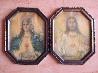 +++2 Alte Heiligenbilder - Maria und Josef+++8 eckig  Vintage