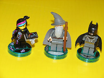 Lego dimensions minifigures with Base -  Batman, Wildstyle, and Gandalf.