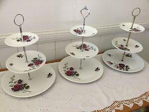 "Three Tier ""High Tea"" Cake Plates - Staffordshire England Nundah Brisbane North East Preview"