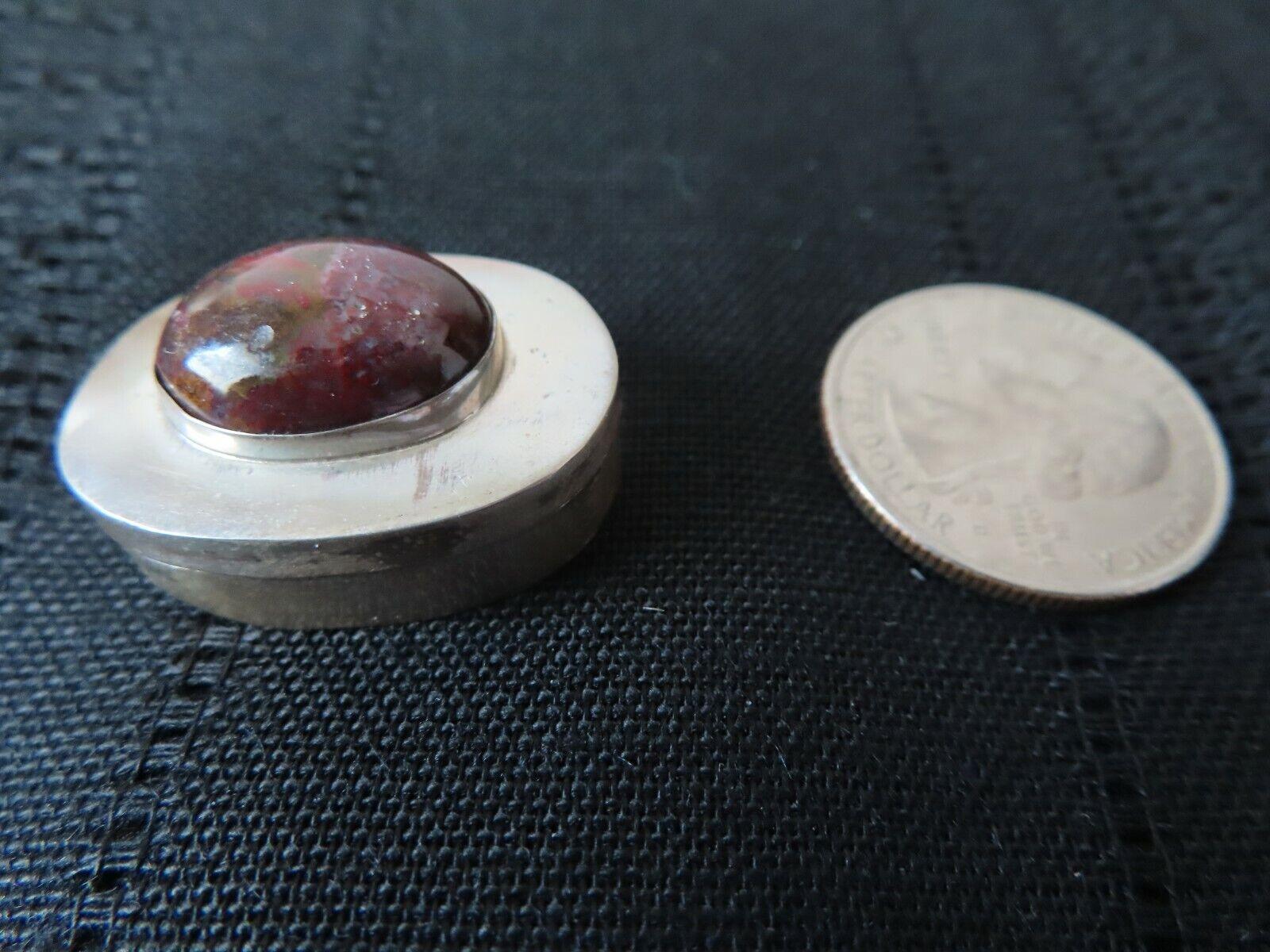 Vintage 925 Sterling Silver Pill Snuff Trinket Box Taxco Mexico Stone Gem 12 - $29.99