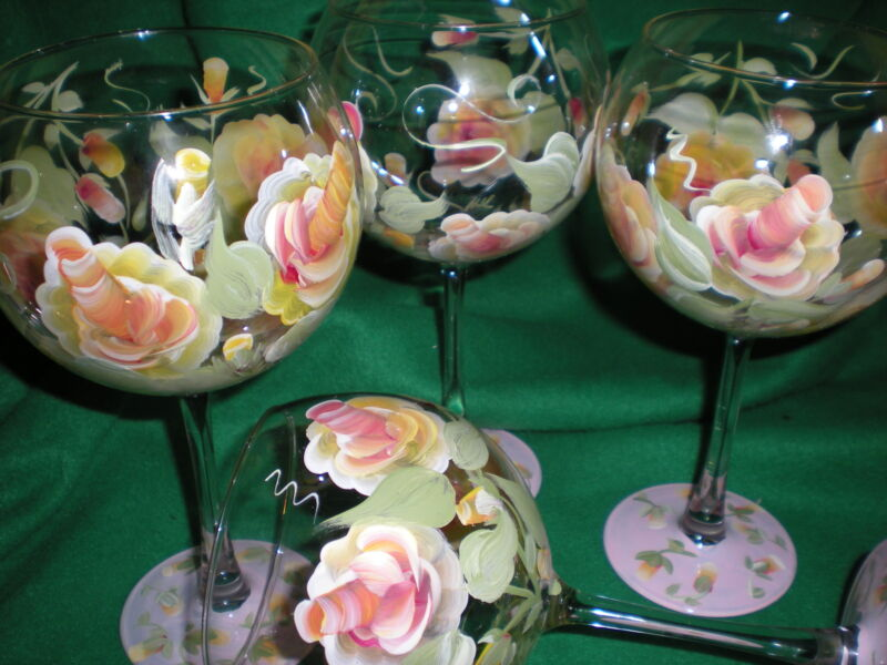 HAND PAINTED YELLOW/PINK ROSE 19 OUNCE  BALLOON GOBLETS/ SET/4(MADE IN THE USA)