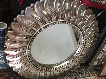 """Wall Mirror-round, silver-""""sun-shaped"""". In vgc"""