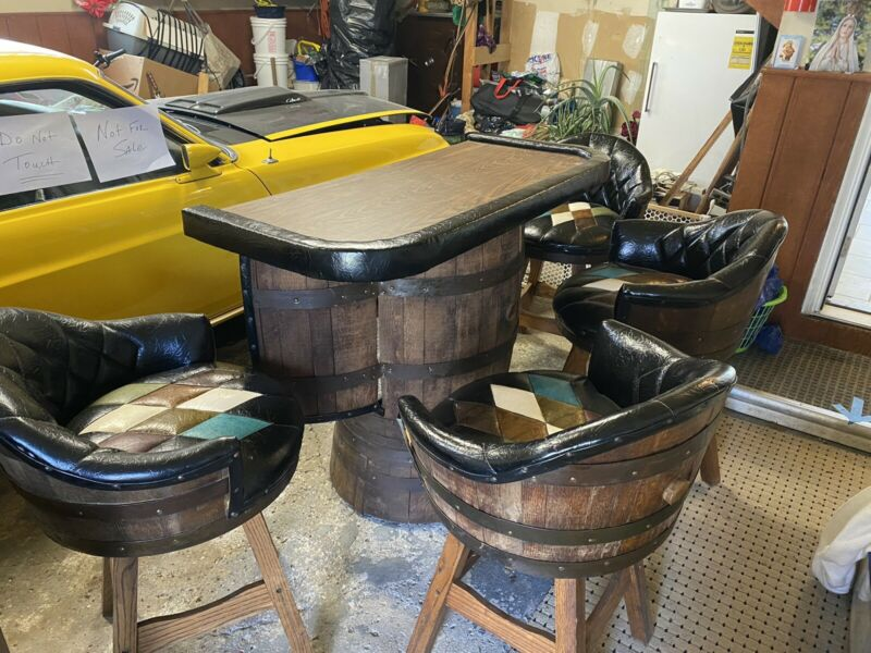 Mid Century Whiskey Barrel Bar and 4 Swivel Bar Stools by Brothers of Kentucky
