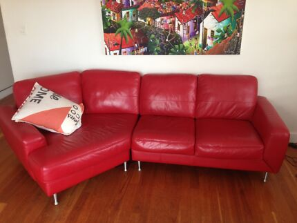 Nick Scali Red Leather Lounge (Lucas) - immaculate condition Bondi Beach Eastern Suburbs Preview