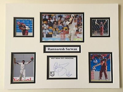 "West Indies Cricket Ramnaresh Sarwan Signed 16"" X 12"" Double Mounted Display"