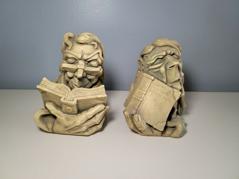 Vintage Agatha Christie & Immanuel Kant Controversial Bookends Bookweights RARE