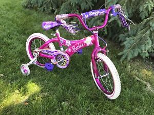 "Girls Barbie Bike with 16"" rims and training wheels A1"
