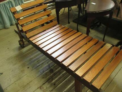 Vintage Timber Sun Lounge Bed Bench 183cm Long on Wheels Queenstown Port Adelaide Area Preview