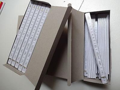 50 Zollstöcke 2m aus Holz Marke ADGA ohne Werbung in Weiß Zollstock Maßstab