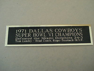Dallas Cowboys Super Bowl 6 Nameplate for a Football Jersey Case 1.5 X 6