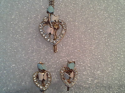Vintage Deco Blue Enamel and Rhinestone Floral Heart Necklace and Earring Set