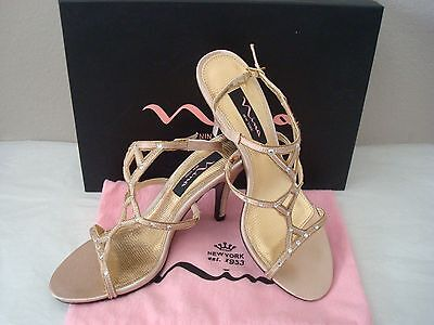 NINA Women's Strappy Satin Dress Gold Crystal Heels Sandals Shoes Size 6.5 Box  Nina Satin Strappy Sandals