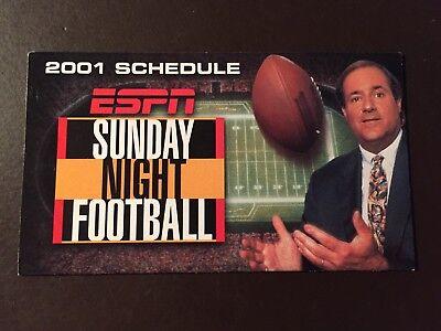 Espn Sunday Night Football 2001 Pocket Schedule   Chris Berman