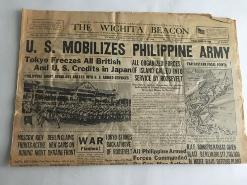 VTG Newspaper 1941 U.S. Mobilizes Philippine Army Wichita Eagle Section A