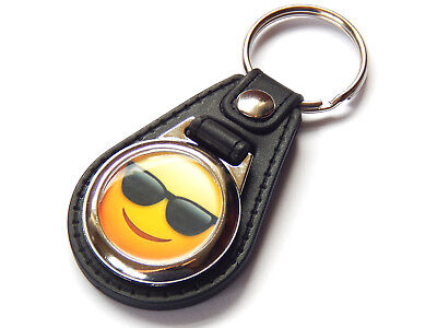 EMOJI FACE COOL SUNGLASSES Emoticon Quality Leather and Chrome (Cool Sunglasses Emoticon)