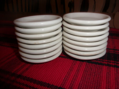 """set of 16 VINTAGE WHITE FARMHOUSE RESTAURANT IRONSTONE BUTTER PATS 2.5"""" UNMARKED"""