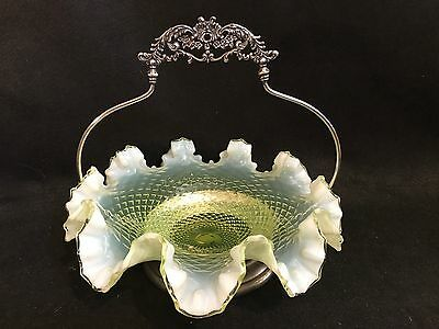 Victorian Hobbs Brockunier Vaseline Glass Bowl Brides Basket With Silver Holder