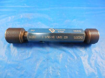 1 116 14 Uns 2b Vermont Thread Plug Gage 1.0625 Go No Go Pds 1.0181 1.0230