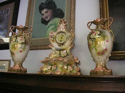 Lg Vtg Porcelain Mantle Clock Urn 4pc Set Good condition some crazing SEE PHOTOS