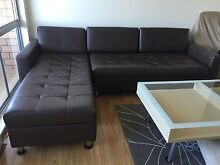 Dark brown leather L-shaped sofa couch lounge Bondi Beach Eastern Suburbs Preview